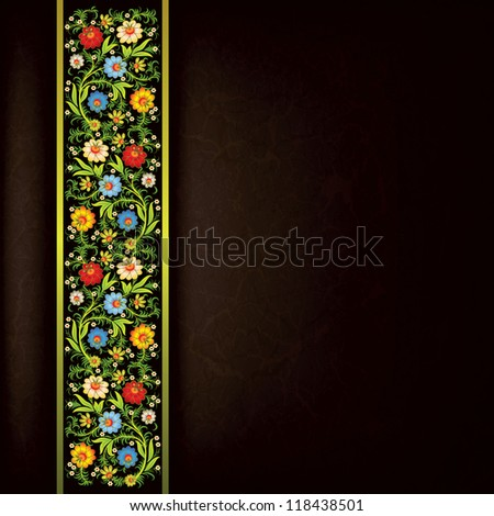 abstract grunge floral ornament with color flowers on black ribbon