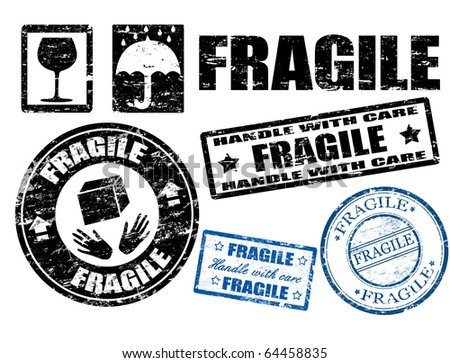 Abstract grunge fragile signs and stamps,vector illustration