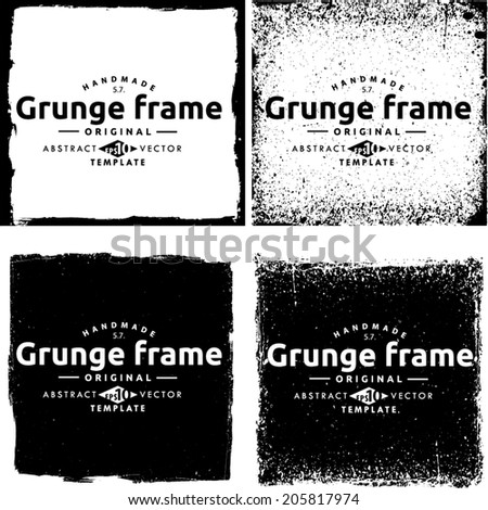 Abstract grunge frame set. Background vector texture #205817974