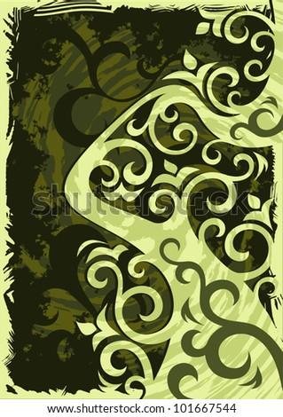 Abstract grunge green vector background illustration. - stock vector