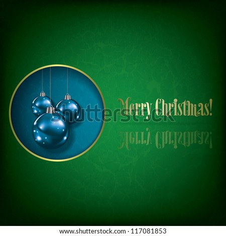 Abstract grunge greeting with Christmas decorations on blue