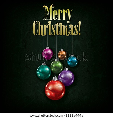 Abstract grunge greeting with Christmas decorations on green background