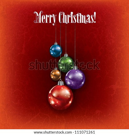 Abstract grunge greeting with Christmas decorations on red background