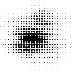 Abstract grunge grid polka dot halftone background pattern. Spotted black and white vector line illustration