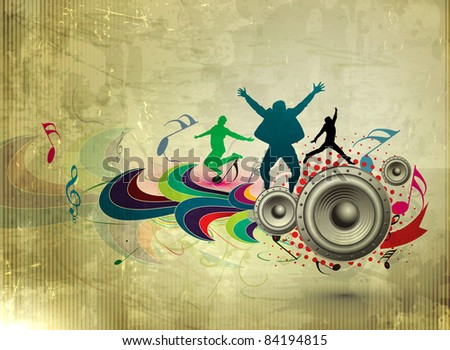 abstract grunge music party poster design on texture background