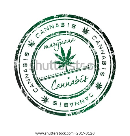 Abstract grunge office rubber stamp with a leaf of cannabis and the word cannabis written inside the stamp. Marijuana