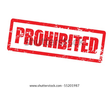 Abstract grunge office rubber stamp with the word prohibited written inside the stamp