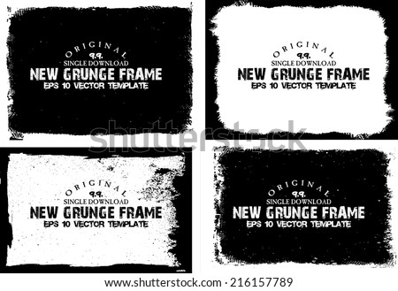 Abstract grunge photo frame set. Background vector texture #216157789