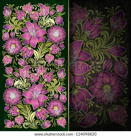 abstract grunge pink floral ornament on green background