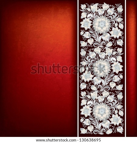 abstract grunge red background with white floral ornament