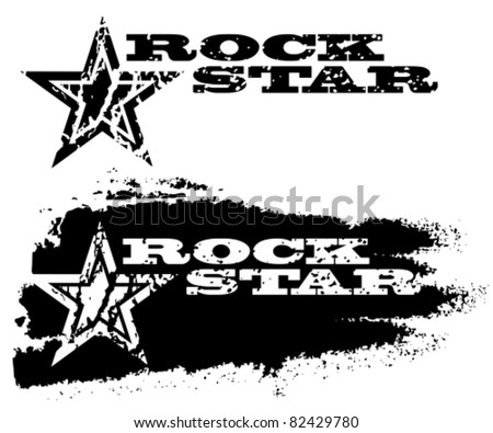Abstract grunge rock star design with star.