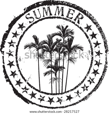 Abstract grunge rubber stamp shape with the word summer