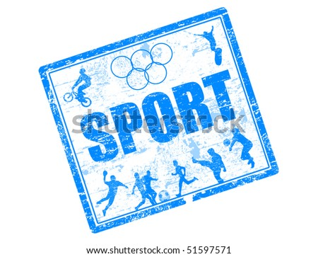 Abstract grunge rubber stamp with many sports silhouette and world sport written inside the stamp - stock vector