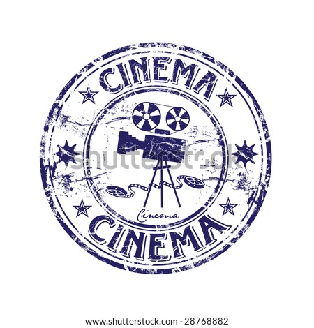 Abstract grunge rubber stamp with old movie camera shape and the word cinema written inside the stamp