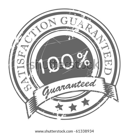 Abstract grunge rubber stamp with small stars and the word Satisfaction Guaranteed written inside the stamp, vector illustration