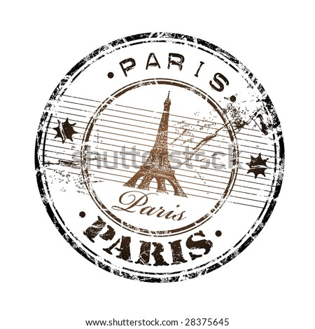 Abstract grunge rubber stamp with the Eiffel Tower symbol and the name Paris written inside the stamp