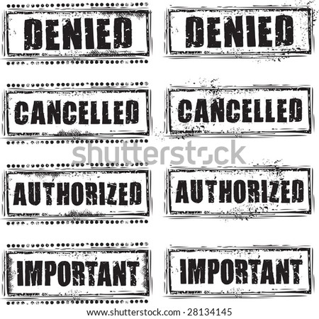 Abstract grunge rubber stamp with the text denied, cancelled, authorized and important