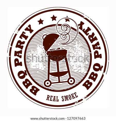 Abstract grunge rubber stamp with the word BBQ party written inside the stamp, vector illustration
