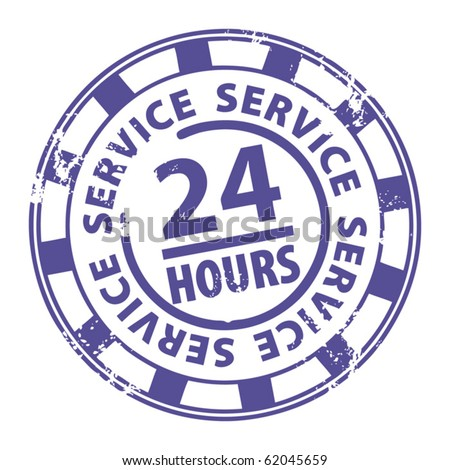 Abstract grunge rubber stamp with the word 24 hour service written inside the stamp, vector illustration
