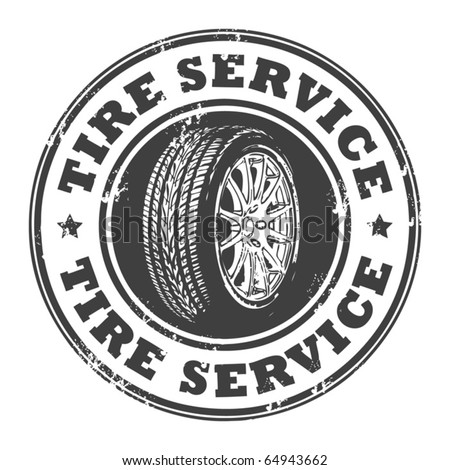 Abstract grunge rubber stamp with wheel and the words tire service written inside, vector illustration