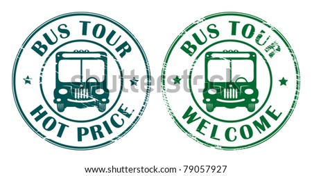 Abstract grunge rubber stamps with bus symbol and the words bus tour written inside the stamp, vector illustration