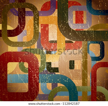 Abstract grunge square on brown background. Vector illustration