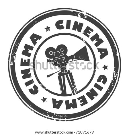 Abstract grunge stamp with movie camera and the word cinema inside, vector illustration