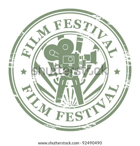Abstract grunge stamp with movie camera and the word Film Festival, vector illustration