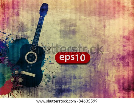 Abstract grunge texture with music guitar