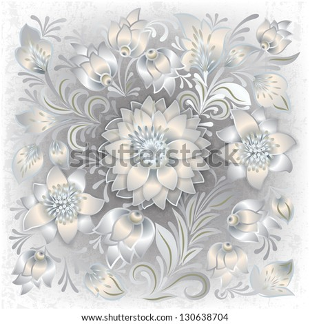 abstract grunge white background with floral ornament