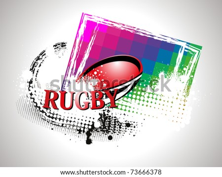 abstract grungy background with rugby ball, vector sport illustration