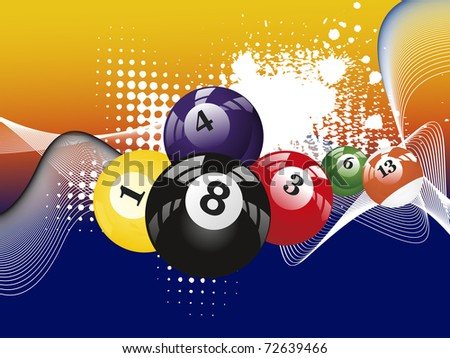 abstract grungy, dotted wave background with colorful billiard balls