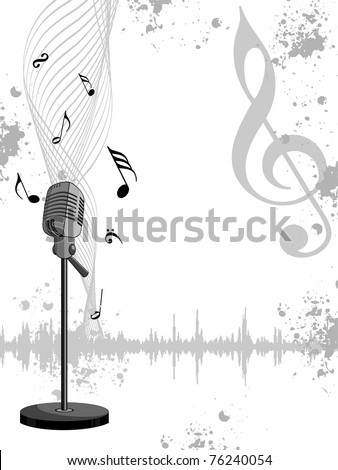 abstract grungy musical notes background with isolated mike, vector illustration