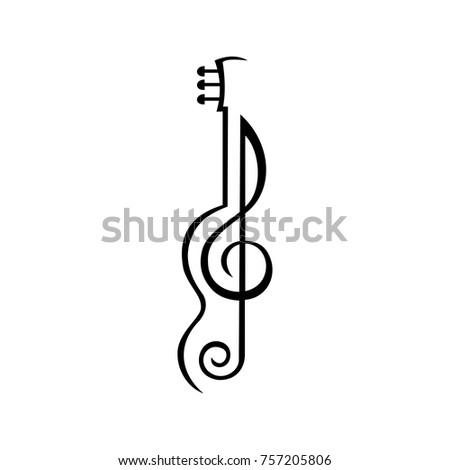 Abstract guitar with Music Note