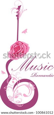 abstract guitar with rose