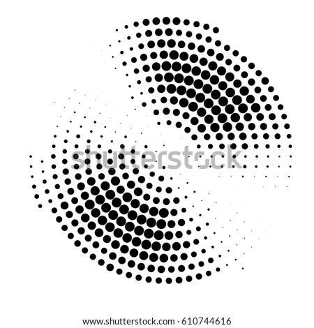 abstract halftone circle gradation background. black design element