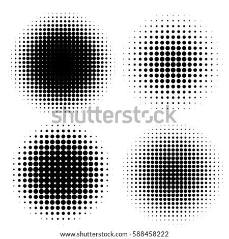 abstract halftone circle shapes set. Design elements