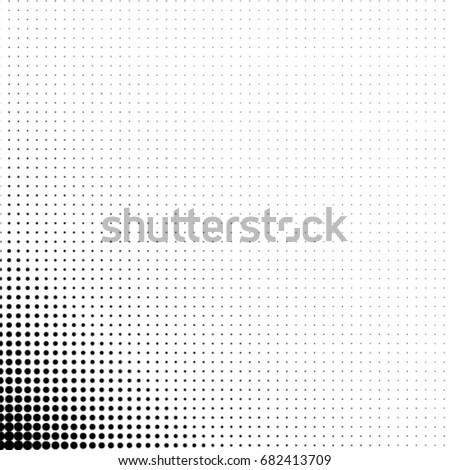 Abstract Halftone Dotted Background. Square Minimal Background. Monochrome Gradient Pattern With Dot and Circles. For Posters, Sites, Business Cards, Postcards. Black dots on white background.