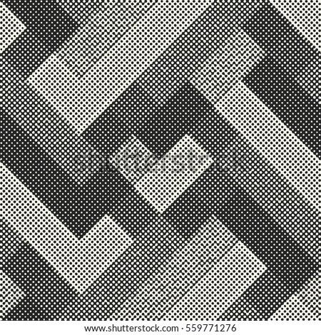 Abstract halftone textured geometric motif. Seamless pattern.