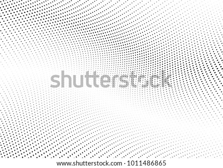Abstract halftone wave dotted background. Futuristic twisted grunge pattern, dot, circles.  Vector modern optical pop art texture for posters, business cards, cover, labels mock-up, stickers layout