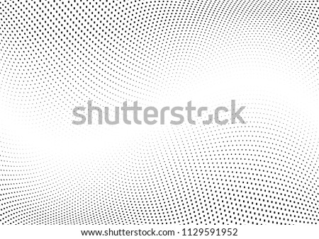 Abstract halftone wave dotted background. Halftone  grunge pattern with square.  Vector halftone modern pop art twisted texture for poster, cover, business card, postcard, art label layout, sticker.
