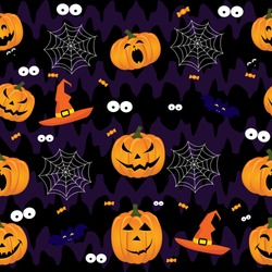 Abstract halloween pattern for girls,boys, kids, halloween, clothes. Creative vector background with pumpkin, scary face. Funny halloween wallpaper for textile and fabric. Fashion style.