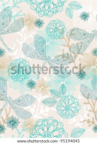 Abstract hand-drawing background, Seamless pattern with flowers and dragonfly can be used for wallpaper, pattern fills, web page background, surface textures,vector illustration - stock vector