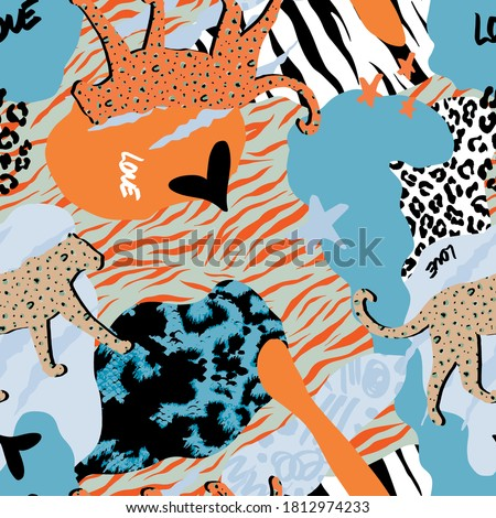 Abstract Hand Drawing Mix Animal Skins and Geometric Shapes Repeat Vector Pattern