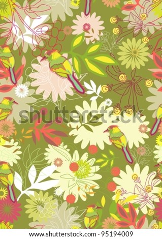 Abstract hand-drawing Seamless pattern with flowers and birds, can be used for wallpaper, pattern fills, web page background, surface textures,vector illustration