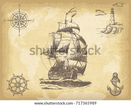 Stock Photo Abstract hand drawn background with vintage sailing ship, compass, lighthouse, ship wheel, anchor and world map on old paper texture. Template for your design works. Vector illustration.