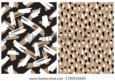 Abstract Hand Drawn Brush Stripes Vector Patterns. Black, Brown and White Leopard Skin Print. Freehand Stripes on a Brown Background. Irregular Geometric Repeatable Wild Animal Skin Vector Design.