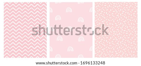 Abstract Hand Drawn Childish Style Seamless Vector Patterns. White Rainbows, Chevron and Spots on a Various Pink Backgrounds. Simple Irregular Geometric Vector Prints. Pastel Color Design. Stockfoto ©