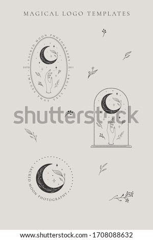 abstract hand drawn crescent