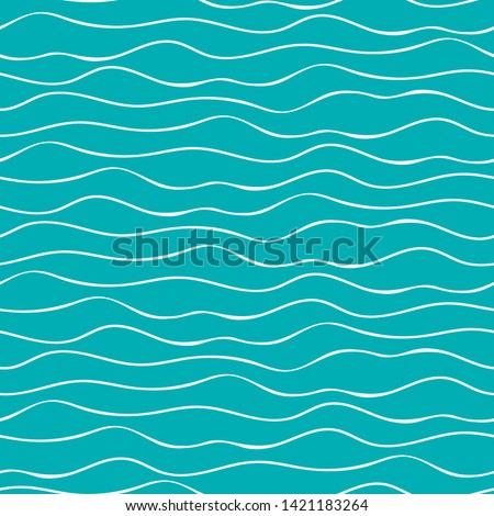 Abstract hand drawn doodle sea waves. Seamless geometric vector pattern on ocean blue background. Great for marine themed products, spa, wellness, beauty, stationery, giftwrap
